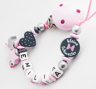 Schnullerkette mit Namen ♥ Mini Prinzessin♥Baby Mädchen rosa Holz Schleife