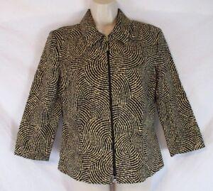 Joseph-Ribkoff-Womens-Geometric-Jacket-Blazer-Size-8-Zip-Front-3-4-Sleeve-CB95G