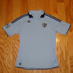 premium selection 512a4 9f5d6 Details about Adidas Sporting KC Collared Jersey Size L Light Blue Men's  Climacool Kansas City