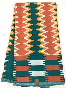 African-KENTE-Prints-African-Print-Fabric-African-Clothing-ORANGE-TEAL-GREEN