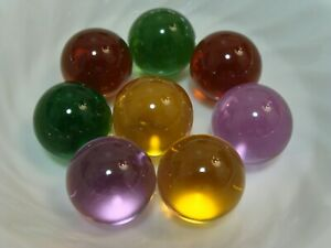 8-Vintage-Transparent-Jewel-Marbles-1IN-Shooters-Soft-Purple-Yellow-Brown-Green