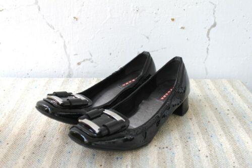 PRADA Women's Black Patent Leather Block Heel Pump