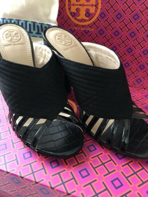 8a4562efe Tory Burch Black Mule Sandals Suede Patent Leather Block Heel Size 6 for  sale online