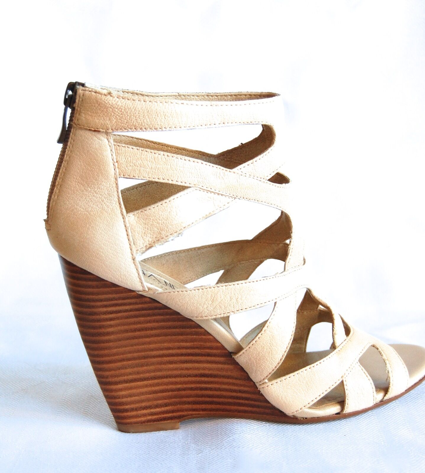 Via blackli Beige Nude color Leather Wedges Wedges Wedges shoes 53f666