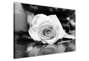 LARGE-CANVAS-WALL-ART-PICTURES-BLACK-AND-WHITE-ROSE-PRINTS-FLOWER-DECORATION