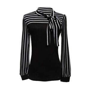 Damenbluse-Stehkragen-Blus-T-shirt-Hemd-Streifen-Shirt-TOP-Gr-M-Schwarz-J4S8-VG