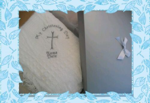 Personalised babys christening shawl  embroidered large silver  cross