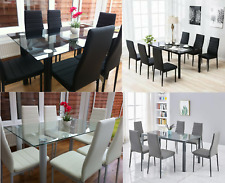 STUNNING GLASS DINING TABLE SET WITH 4 OR 6 FAUX LEATHER CHAIRS WHITE GREY BLACK