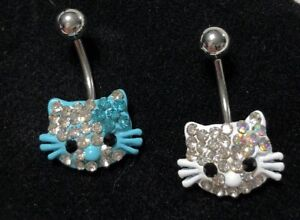 Details About Belly Button Navel Ring Set 2 14g Hello Kitty Enameled Crystal Clear Charm Aqua