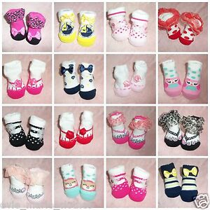 Baby Girls Frilly Socks Ribbed Socks With Bow in Cream Pink or White 3-24 Months