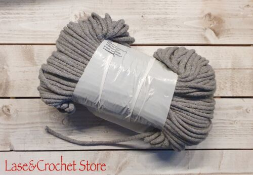 5 mm Braided Cotton Cord-Rope String 100 m GREY