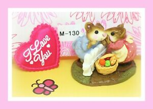 Wee-Forest-Folk-M-130-Mouse-Talk-1985-Rose-Pink-Blue-Dress-Mice-Retired