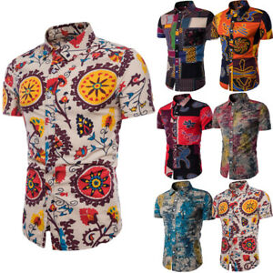 Fashion-Men-039-s-Summer-Casual-Dress-Slim-Fit-Shirt-Short-Sleeve-Shirts-Tops-Tee