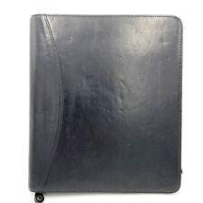 Franklin Covey Black 7 Ring Full Grain Leather Zip Around Binder 13x11