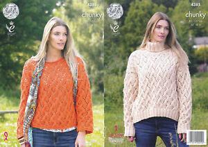 5f8b71e5842c9 Ladies Chunky Knitting Pattern King Cole Womens Lace Effect Sweater ...