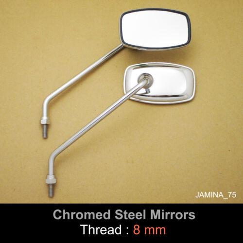 Honda C200 CA200 C201 Touring 90 8mm Chrome Steel Metal Mirror Rectangle Pair