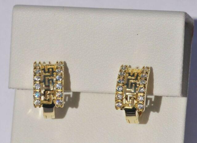 Echt 925 Sterling Silber Ohrringe Creolen mit Zirkonia Hochzeit vergoldet Nr 71