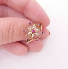 18ct gold ruby seed pearl ring star, heavy Victorian