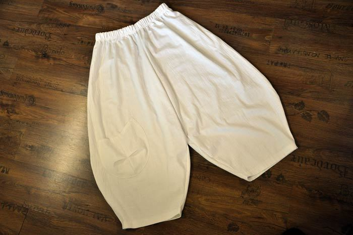 Lagenlook Oversized Linen Balloon Pants Bag White 52,54, 56,58, XXXL, XXXXL