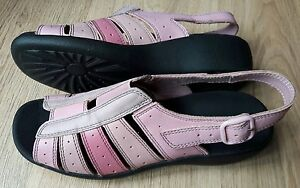 HOTTER-TINO-SIZE-6-5-40-PINK-LEATHER-WEDGE-SANDALS-WORN-TWICE-FREE-P-amp-P