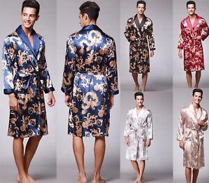 Mens Satin Silk Pajamas Kimono Bathrobe Robe Dressing Gown Sleepwear ... c42b39ad5