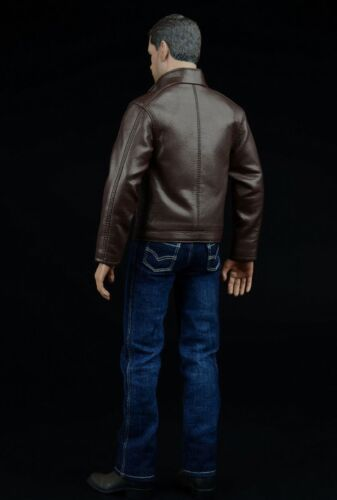 1//6 Male Agent of Leather Costume CEN-M02  Coat Jeans Pants Model F Action Doll