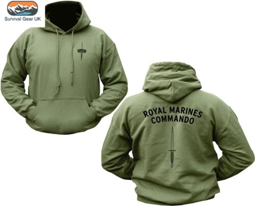 Royal Marines Commando Hoodie Double Sided Military Army Green Jumper  X-LARGE