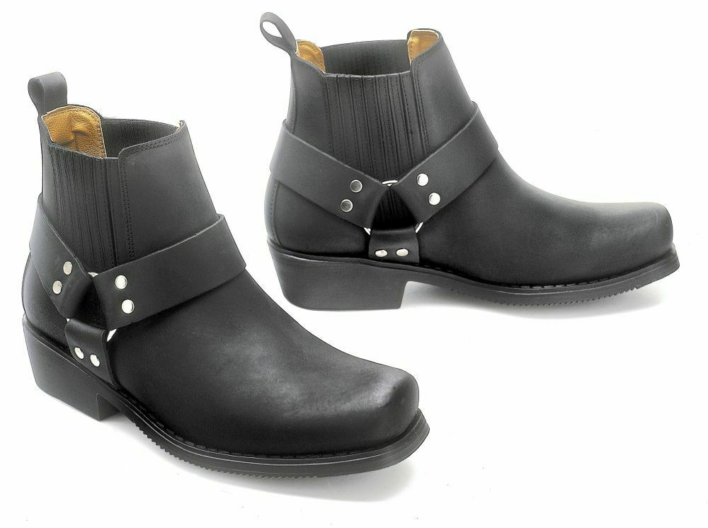 Western brevemente bota botas vaqueras Biker botaslette botas de cuero negro Gr. 45