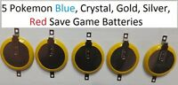 Lot Of 5 Pokemon Blue, Crystal, Gold, Silver Red Save Game Batteries Cr2025 Tab