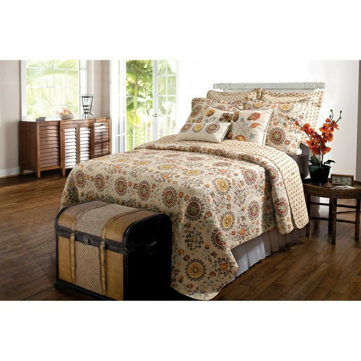 BEAUTIFUL MODERN EXOTIC TROPICAL IVORY braun rot Blau FLORAL QUILT SET QUEEN SZ