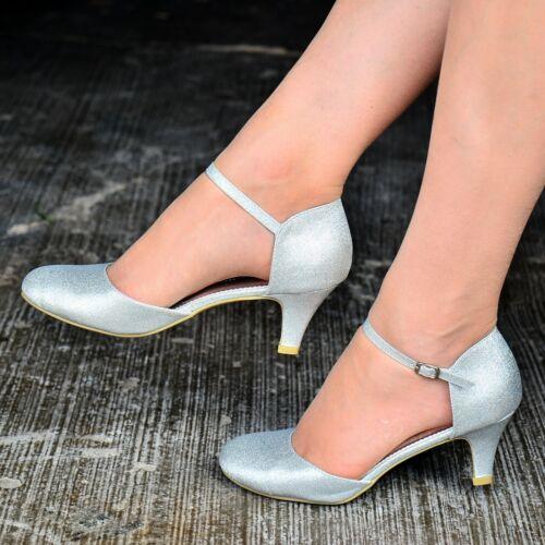 WOMENS GLITTER MARY JANE ANKLE STRAP LOW KITTEN HEEL DRESSY SHOES SANDALS