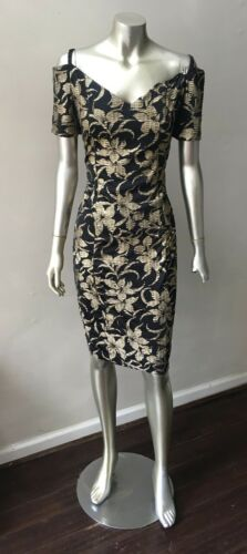 Sweetheart Gold Vintage 80s Sheath floral off the