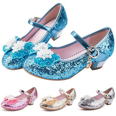 GIRLS KIDS SEQUINS GLITTER BOW BRIDESMAID WEDDING PARTY MARY JANE SHOES SANDALS