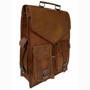 Unisex-Genuine-Leather-Men-039-s-Backpack-Bag-laptop-Satchel-briefcase-Brown-Vintage