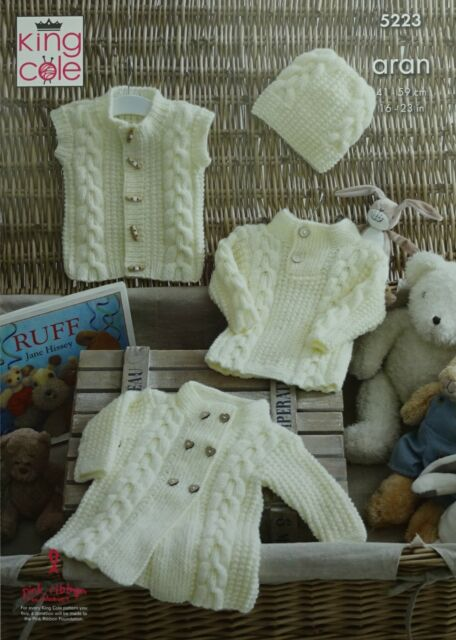 420fe0f3d King Cole 5223 Knitting Pattern Baby Sweater Coat Gilet and Hat in ...