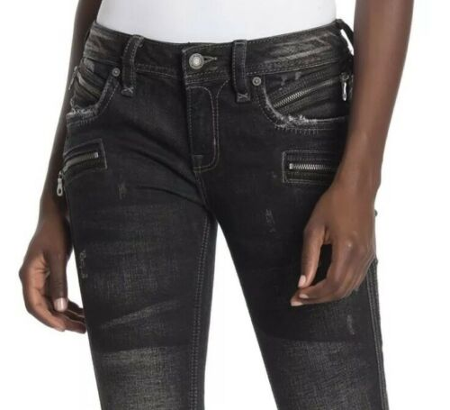 Rock Revival Moto Skinny Jeans Cladelle Distressed Woman Size 32 Black NEW $195