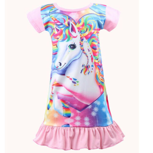 Kids Girls Unicorn Nightdress Nightie Pyjamas Pj/'s Princess Holiday Casual Dress