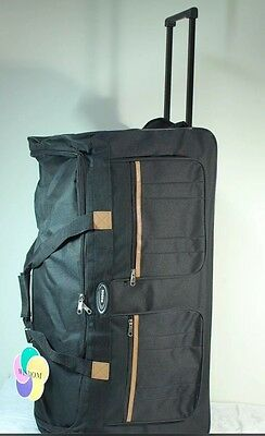 """Black 30"""" Large Wheeled Rolling Duffle with Retractable Handle Travel Gym Bag"""