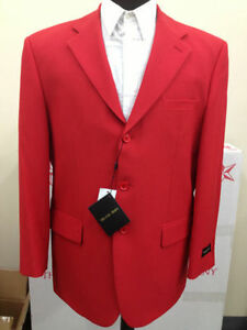 Men's Polyster 3 Button Basic Suit's Jacket & Pant's Red 802-P