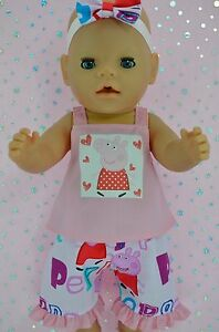 Play-n-Wear-Doll-Clothes-To-Fit-17-034-Baby-Born-3-4-PATTERN-PANTS-TOP-HEADBAND