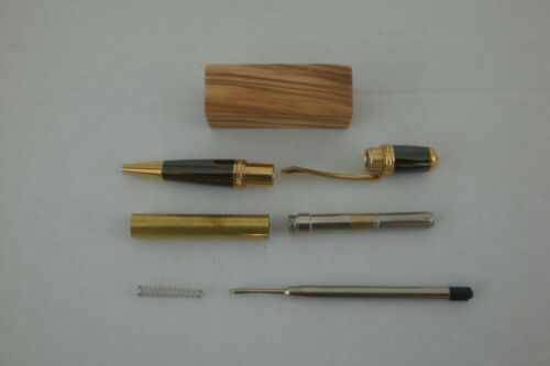 Gold Sierra Click Pen Kit with drilled Olivewood Blank