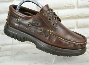 lee mens brown leather casual deck boat laceup shoes