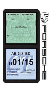 Porte-vignette-assurance-PORSCHE-double-etui-voiture-Stickers-auto-retro