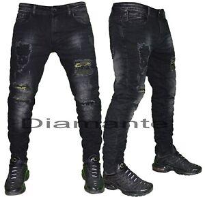 Da Uomo Super Skinny Stretch Denim Soul Di Marca ANGOSCIA Strappato Jeans Aderenti Da Motociclista