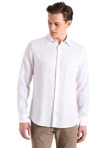 f8b1cc27d0 Dettagli su Camicia di lino da uomo bianca North Sails manica lunga con  bottoni casual moda