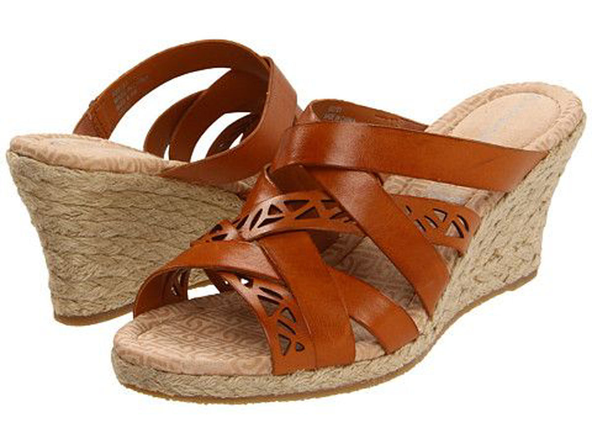 Rope Wedge Sandal size 11M Leather Rockport Women's Emily Laser Cut shoes