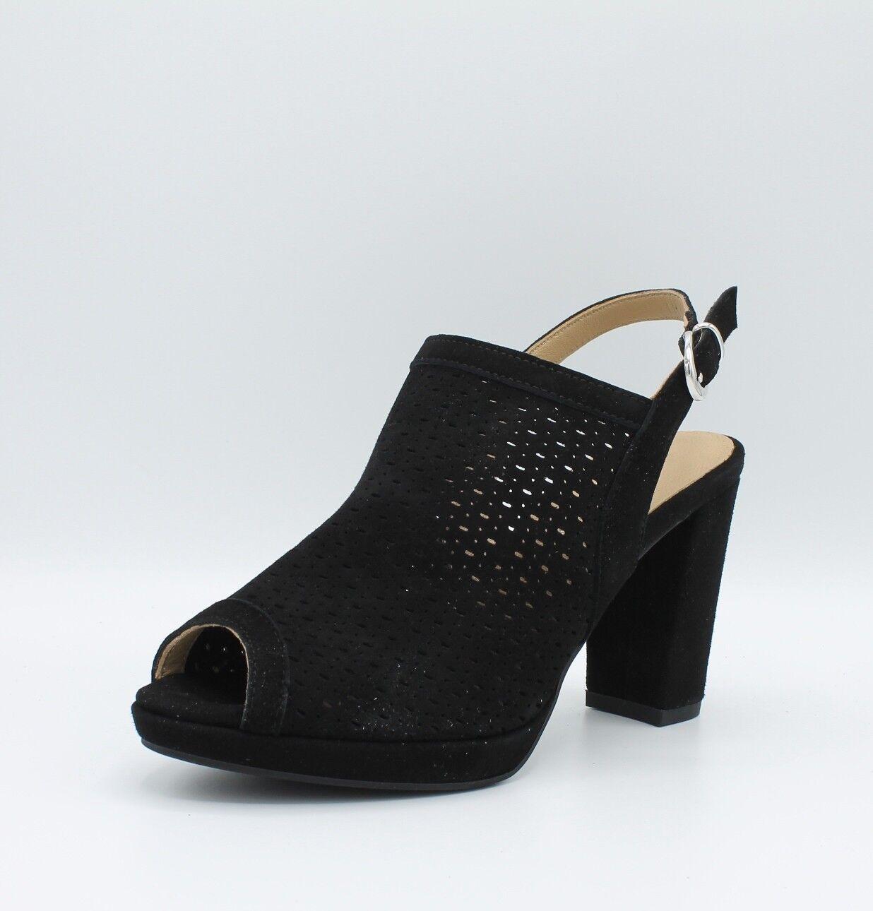 2125a959 DVE 1168300 sandalias de mujer tacón y la meseta ante perforado negro ...