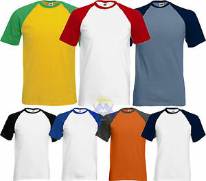 Brillant T-shirt Baseball Uomo/man Fruit Of The Loom Maglietta A Manica Corta 61-026-0
