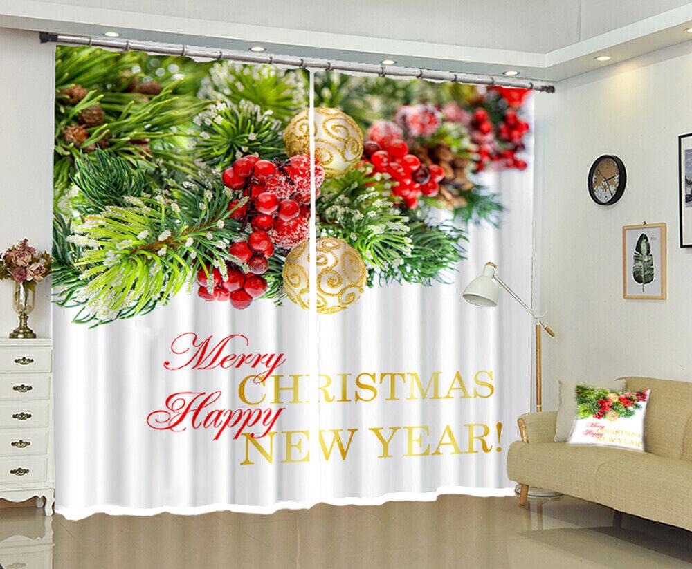 3D Golden Ball A69 Christmas Blockout Photo Curtain Fabric Window Zoe
