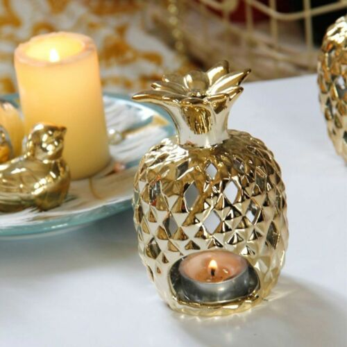 Gold Platings Pineapple Candle Holders Figurines Ceramics Fruit Decors Ornaments